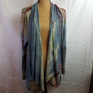 Greater Good Sweaters - Greater Good tie dye Kimono shawl collar sz 3XL